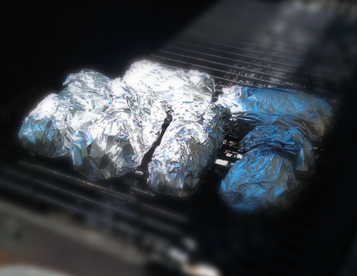 Place potato's on grill